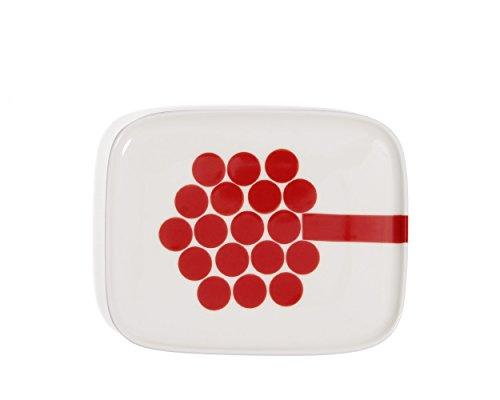 マリメッコ(marimekko) ホルテンシエ プレート 15×12cm ホワイト/レッド HORTENSIE 68351-130 [並行輸入品]