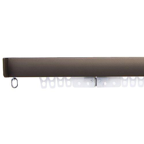 穴あけ不要のつっぱり式のカーテンレール 「フィットワン」(1.5~1.9mの窓に対応)ブラウン