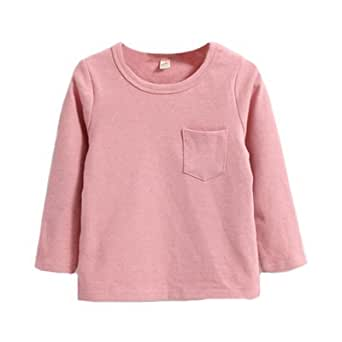 enchante petit(アンシャンテ プティ) キッズ 子供 胸ポケット付もっちりベーシック長袖カットソー≪全12色≫ 100cm #ダスティピンク