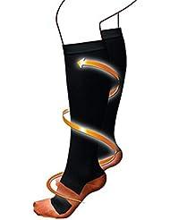 ユニセックス男性女性プロの圧縮ソックス通気性のあるトラベルアクティビティフィットナースシンスプリントフライトトラベル - ブラックS/M
