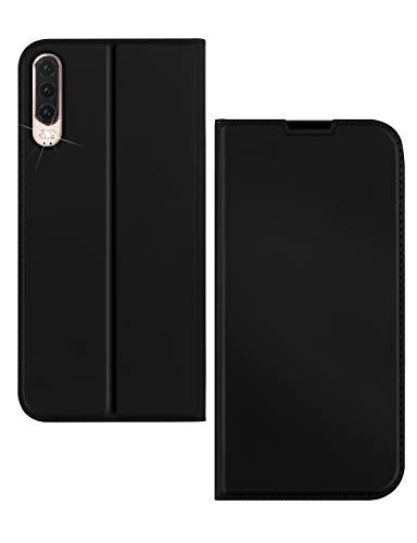 Huawei P30 lite 手帳型 対応 ファーウェイp30lite ケース Uovon 軽量 ポケット カード収納あり マグネット スタンド機能付き [高級 PU レザー+TPU素材] 耐衝撃 全面保護カバー (P30 lite, ブラック)
