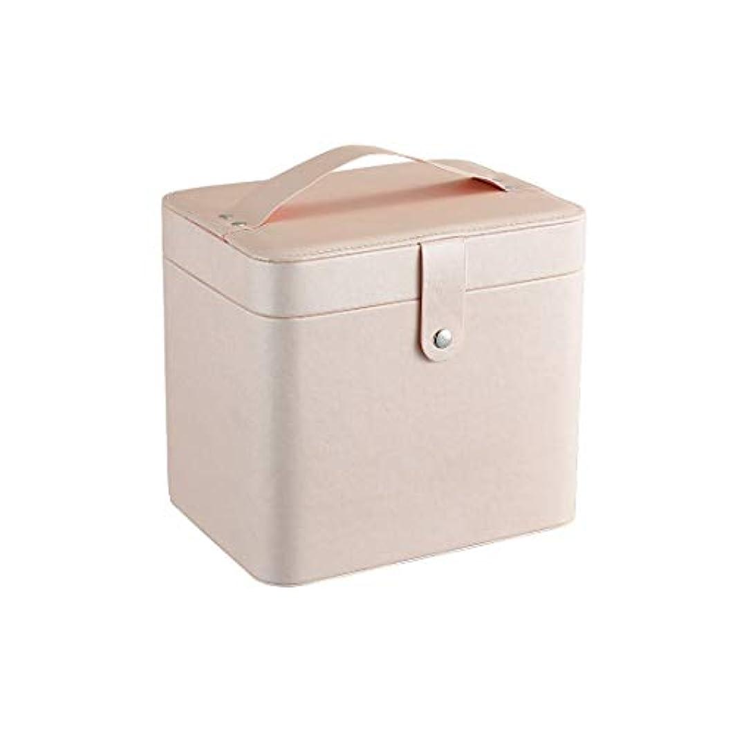 うまくいけば海峡水星SZTulip コスメボックス メイクボックス 大容量収納ケース メイクブラシ化粧道具 小物入れ 鏡付き 化粧品収納ボックス (ライトピンク)
