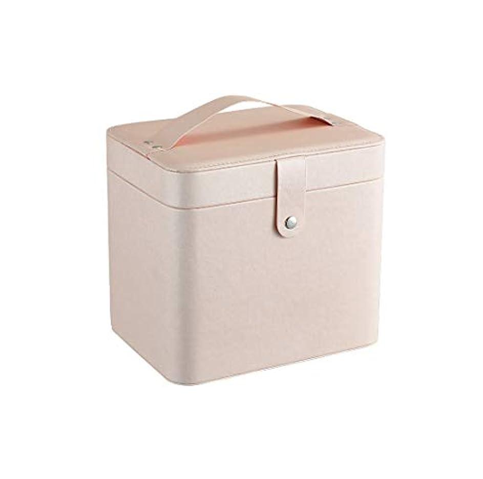 郵便アマチュア遠近法SZTulip コスメボックス メイクボックス 大容量収納ケース メイクブラシ化粧道具 小物入れ 鏡付き 化粧品収納ボックス (ライトピンク)