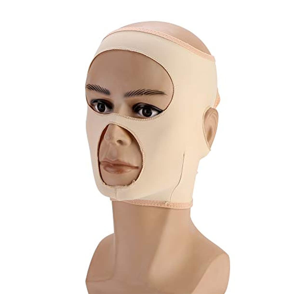 反応する恐れるイーウェルフェイス包帯 フェイシャルケア 小顔 美顔 Vライン 顔輪郭改善 美容包帯 通気性/伸縮性/自動調整バックル フェイシャル マスク フェイスラインスリムアップベルト(M)