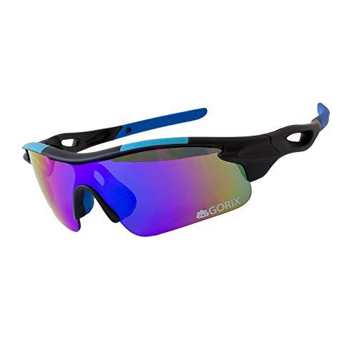 GORIX ゴリックス サングラス スポーツ UVカット 紫外線 自転車 ランニング ゴルフ スキー 専用ケース付き (GS-8515)