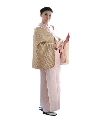 [ 京都きもの町 ] リボン ショール イエローベージュ×白色 和洋兼用 ウール ショール