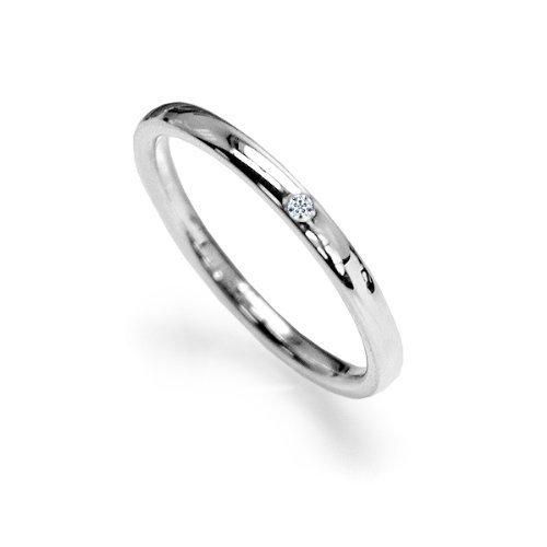 ダイヤモンド入りサージカルステンレスリングレディース  指輪 7号8号9号10号11号12号13号14号15号 シルバー(11)