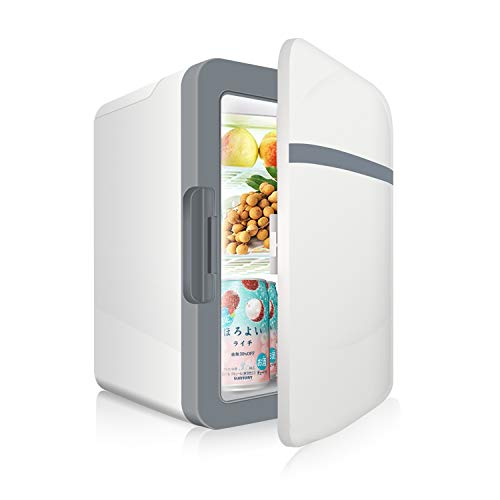 SUKOZE 冷温庫 ミニ冷蔵庫 10L 小型でポータブル 家庭 車載両用 保温 保冷 2電源式 便利な携帯式 コンパクト 軽量 小型冷蔵庫 日本語説明書 1年保証付き ホワイト