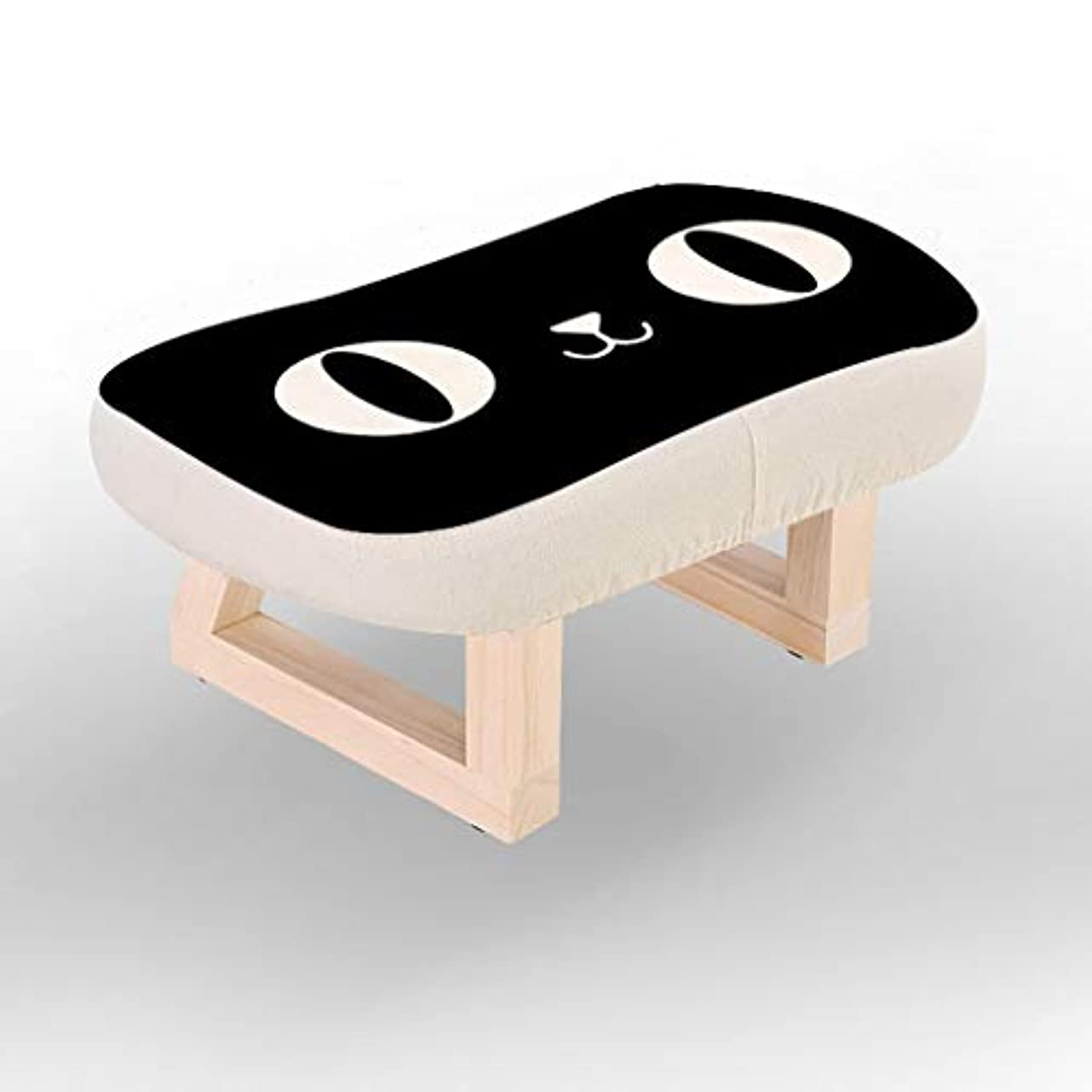 ビン学校教育アジャXJLXX リビングルーム木製スツールホームウェアシューズ小さなベンチ寝室の生地ソファスツール ソファースツール (Color : Black)