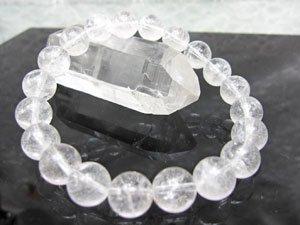 【天然石 ブレスレット】 アイス・クリスタル 10mm珠 ブレスレット 17cm(ギャランティカード付き)