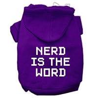 nerd is the word screen print pet hoodies purple size l 14 mirage