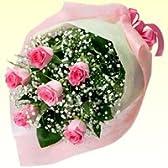 可愛いピンクバラ花束(誕生日祝い、結婚記念日のプレゼントにオススメ)