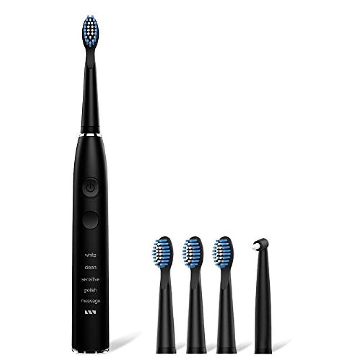 鳴り響く信条批判的電動歯ブラシ 歯ブラシ seago 音波歯ブラシ USB充電式8時間 365日に使用 IPX7防水 五つモードと2分オートタイマー機能搭載 替えブラシ5本 12ヶ月メーカー保証 SG-575 (黒)