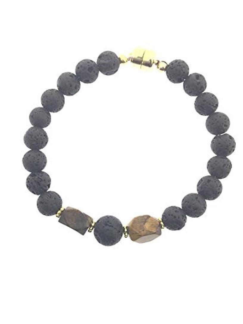 スクリューあごひげ生きるTiger-eye and Lava Essential Oil Diffuser Bracelet with Gold-Filled Rare Earth Magnetic Clasp - Medium [並行輸入品]