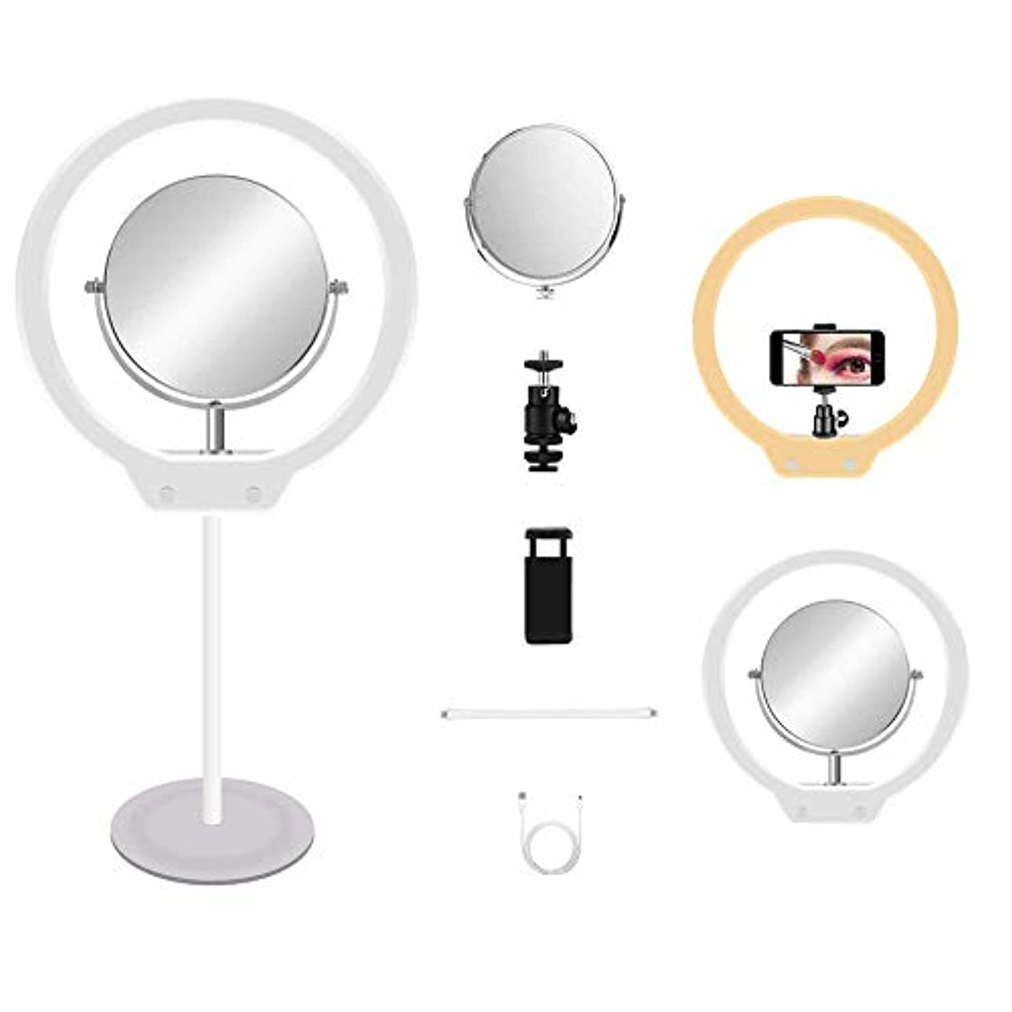 グリーンランドリーフレットそれぞれMount Dog 撮影 照明 led 撮影 LEDリングライト ミニ卓上ビデオライトスタンド 鏡付き スマホホルダー付き 3色モード USBライト 外径10in