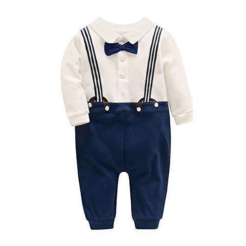 7f69af5d32263 JooNeng ロンーパス ボーイズ 長袖 フォーマル ベビー カバーオール 紳士服 洋服 ネクタイ 綿 結婚式 プレゼント 紺色