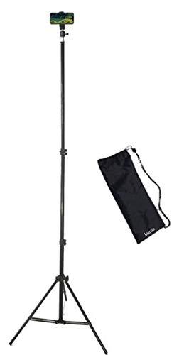最高2.1m 高伸長 高く伸びる 三脚スマホ スタンド 折り畳み式 ライブ録音・録画 持ち運び便利 ネット生ライブ用 スマートフォン用 スマートフォンクランプ付き 専用収納袋付