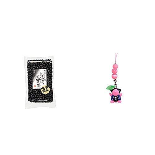 [2点セット] 国産 黒豆茶(200g)・さるぼぼ癒しキャッツアイ【ピンク】/ ストラップ 恋愛運・素敵な出会い・幸せな結婚・豊かな人間関係 //