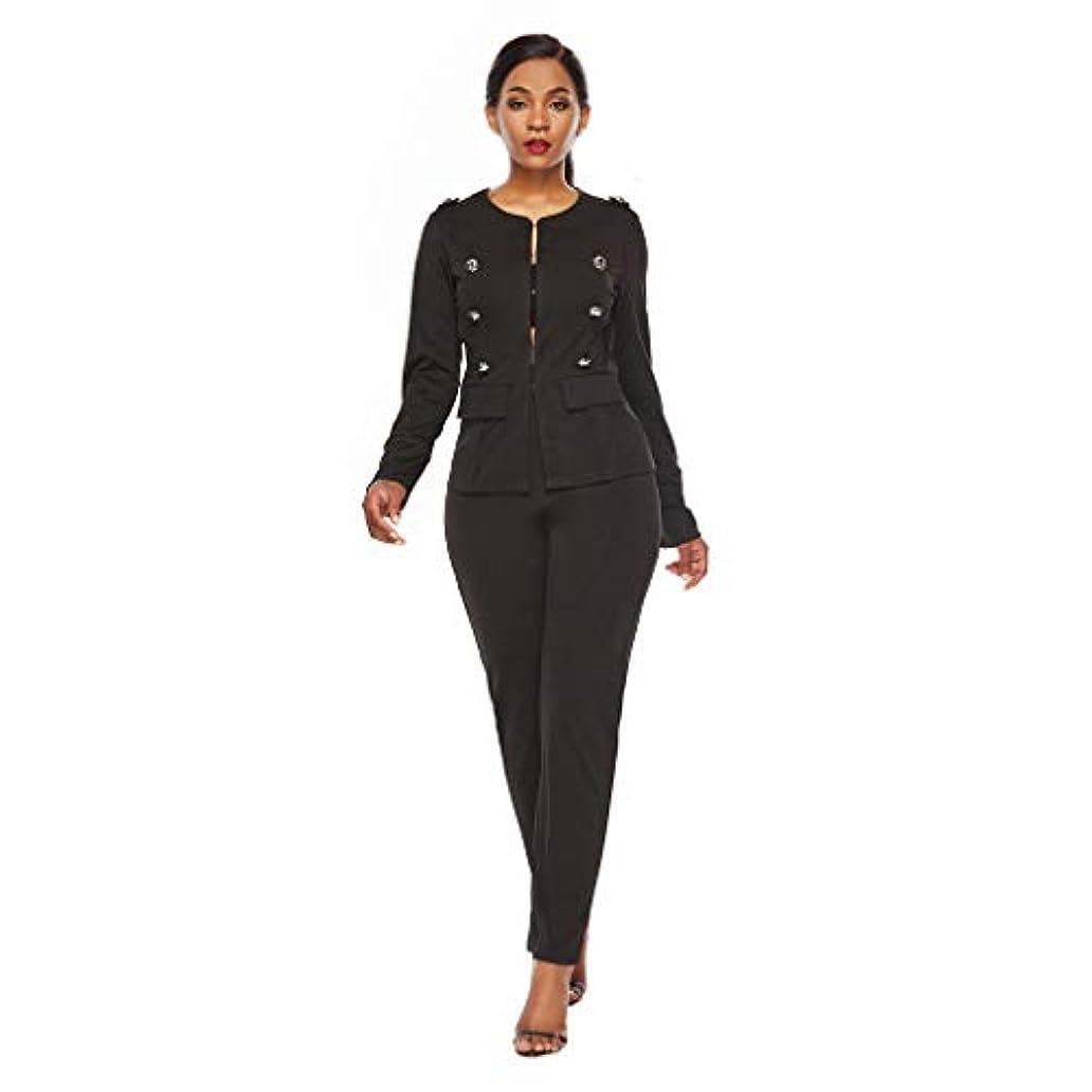 二層ふざけた権限を与えるLefthigh ファッション レディース 無地 セクシー 長袖 パンツ ビンテージ ボタン エレガントセット ビジネス ツーピース スーツ