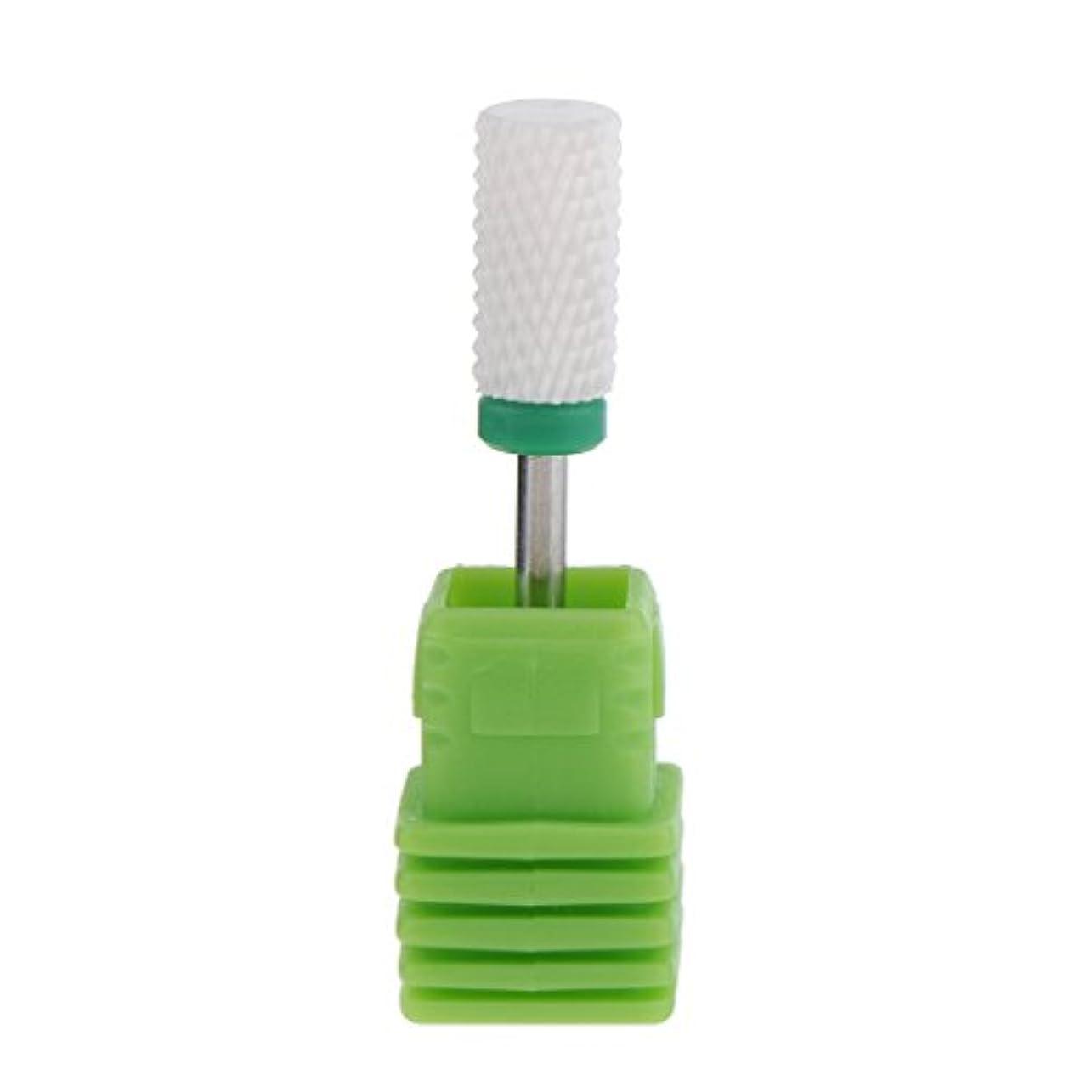 モスク旋律的完璧なネイルアート ドリルビット 研磨ヘッド 電気ドリルビット セラミック ネイル 全6色 - グリーン