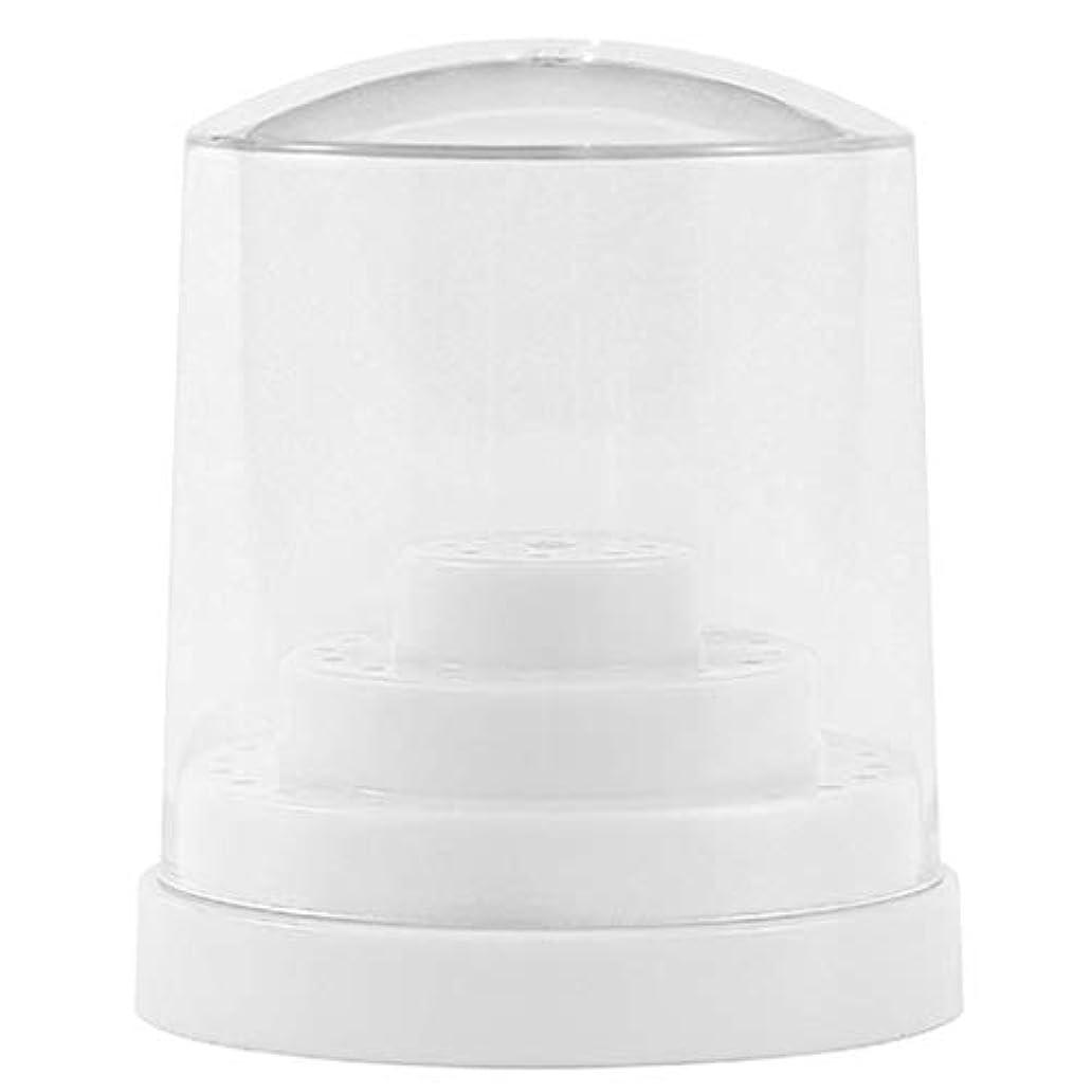 装置絡み合い軽蔑三層48穴 ネイルドリルビットホルダー アクリル製 ネイルマシーン用ビットスタンド 防塵 全2色 - ホワイト