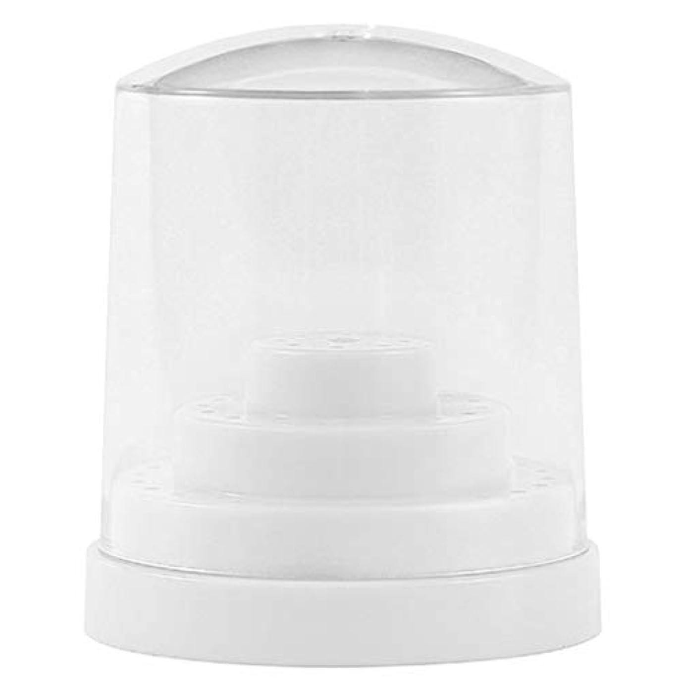 報復する滞在カセットPerfeclan 三層48穴 ネイルドリルビットホルダー アクリル製 ネイルマシーン用ビットスタンド 防塵 全2色 - ホワイト