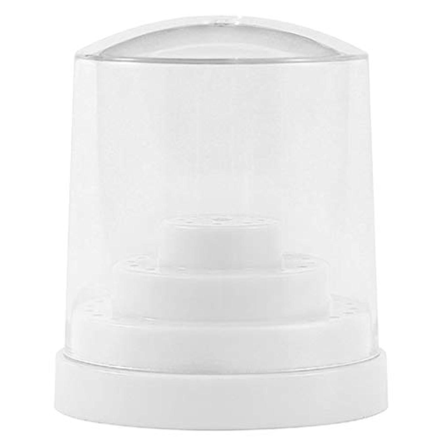 信頼性ダンス圧縮する三層48穴 ネイルドリルビットホルダー アクリル製 ネイルマシーン用ビットスタンド 防塵 全2色 - ホワイト