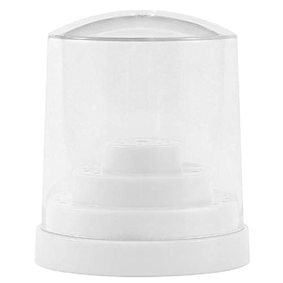 おとこ郵便屋さん位置するPerfeclan 三層48穴 ネイルドリルビットホルダー アクリル製 ネイルマシーン用ビットスタンド 防塵 全2色 - ホワイト