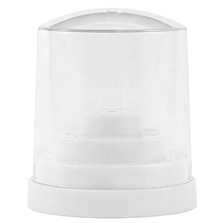 教会予測子中国三層48穴 ネイルドリルビットホルダー アクリル製 ネイルマシーン用ビットスタンド 防塵 全2色 - ホワイト