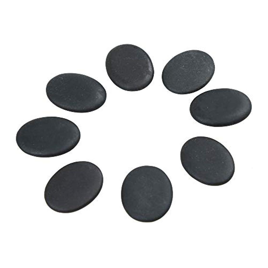 遠え割合従うWindfulogo 8個入りホットマッサージストーンセット天然溶岩玄武岩スパマッサージ用暖かいストーンブラックBlack1.18 x 1.57 in(3x4cm)