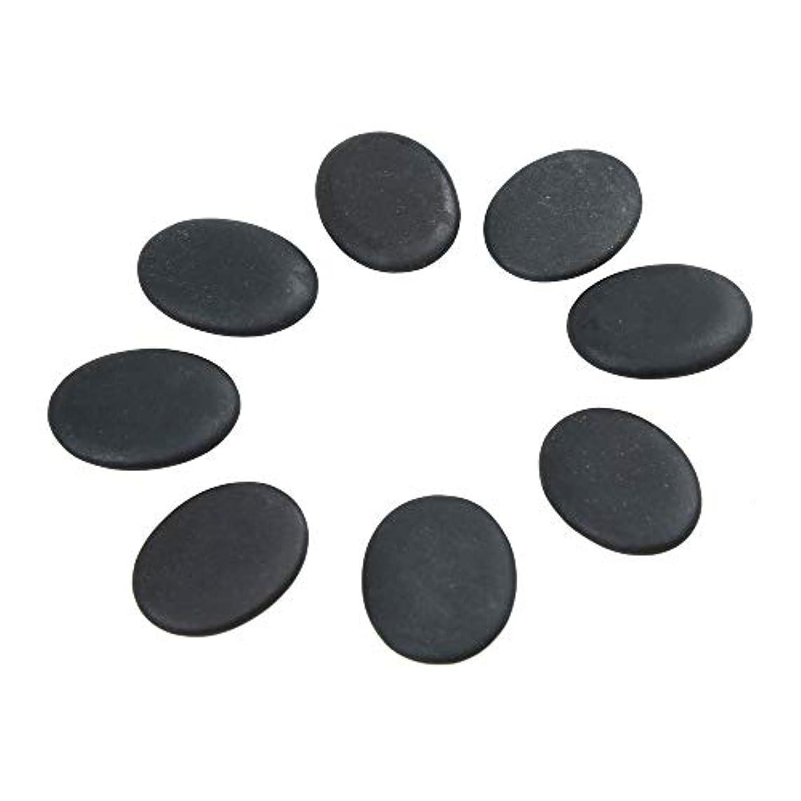 ヤング感嘆回転させるWindfulogo 8個入りホットマッサージストーンセット天然溶岩玄武岩スパマッサージ用暖かいストーンブラックBlack1.18 x 1.57 in(3x4cm)