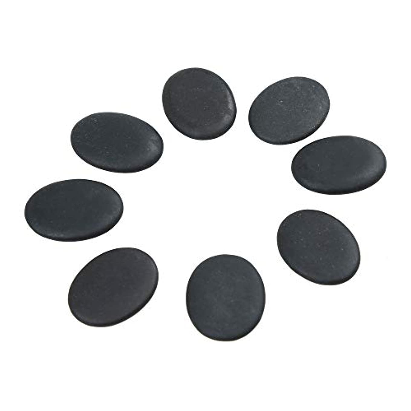 また明日ね頑固なゆりWindfulogo 8個入りホットマッサージストーンセット天然溶岩玄武岩スパマッサージ用暖かいストーンブラックBlack1.18 x 1.57 in(3x4cm)