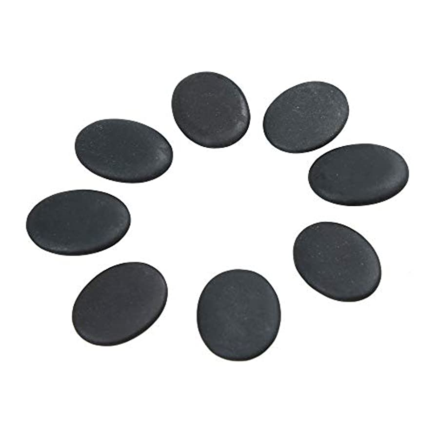 遮るパースブラックボロウジャムWindfulogo 8個入りホットマッサージストーンセット天然溶岩玄武岩スパマッサージ用暖かいストーンブラックBlack1.18 x 1.57 in(3x4cm)