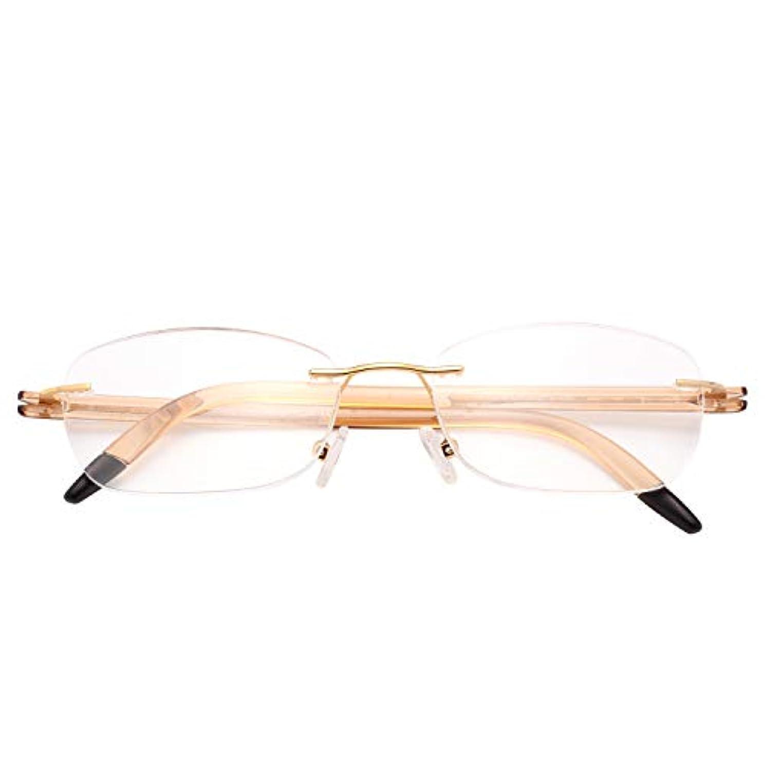 (レンサン) LianSan老眼鏡 ツーボイント リムレス TR90 軽量 曲がる 弾性 ウェリントン ユニセックス メンズ レディース おしゃれ 老メガネ L8019 +2.50