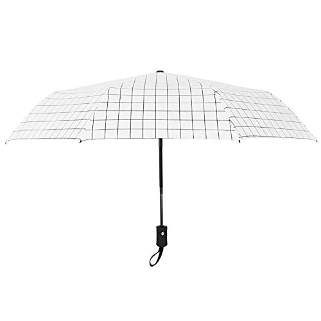 ひいきにする家庭加速度HAPPY HOME 自動傘韓国小さな新鮮な雨デュアルユース折りたたみ傘シンプルな格子日焼け止め黒のプラスチック製の日傘
