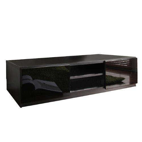 マストバイ テレビ台 ロビン 幅150cm・ブラック・前板鏡面タイプ・背面収納付