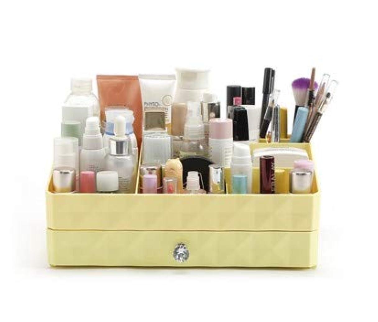 鎖指定する長いです引き出し型化粧品収納ボックス家庭用ドレッサープラスチック大型ジュエリー収納ボックス (Color : Yellow)