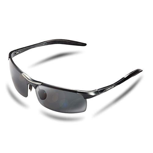 COREFLEX スポーツサングラス 偏光レンズ 超軽量・UV400・紫外線カット ランニング /自転車/ドライブ/釣り/バイク グレー