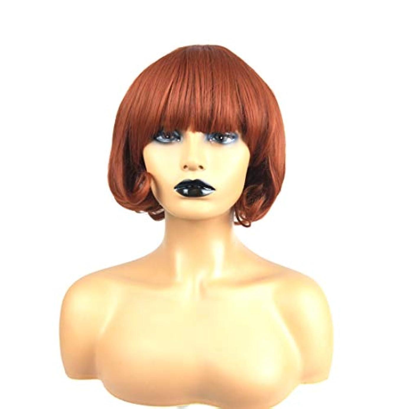 リビングルーム二層週末Kerwinner 前髪とふわふわの化学繊維高温シルクウィッグヘッドギアと茶色の短い巻き毛のかつら