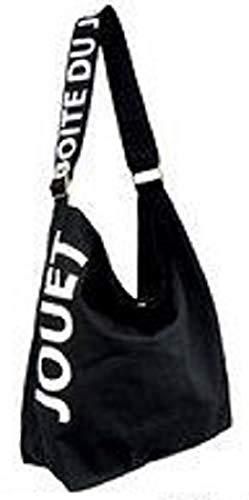 a79ca5a4294b5c バッグ)JOUET シンプルキャンバスショルダーバッグ(BK) まち付き 帆布の画像