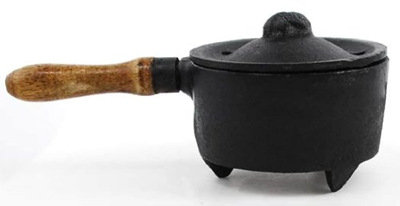 運命暗殺する言い訳Cast Iron Incense Burner with Wooden Handle