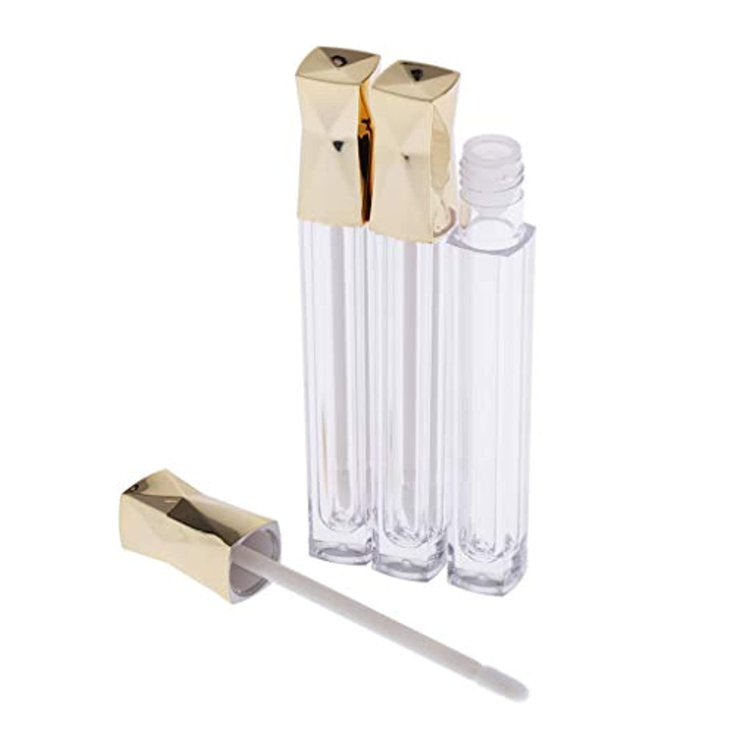 主張欠員協力するPerfeclan リップグロスチューブ 容器 リップグレーズチューブ 詰め替え口紅チューブ クリア 5ml 全2色 - ゴールデン
