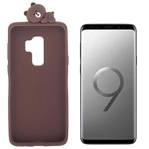 Samsung Galaxy S9+ (S9 plus) 専用 Line Friends (Brown) シリコンカバー かわいいLineキャラクターのマスコットが寝転んでます。並行輸入品