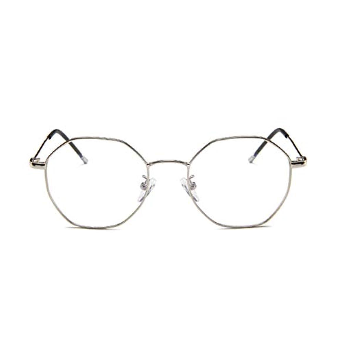上院議員農場受け皿ファッションメガネ近視多角形フレーム韓国語版金属フレーム男性と女性のための不規則なフラットグラス-スライバー