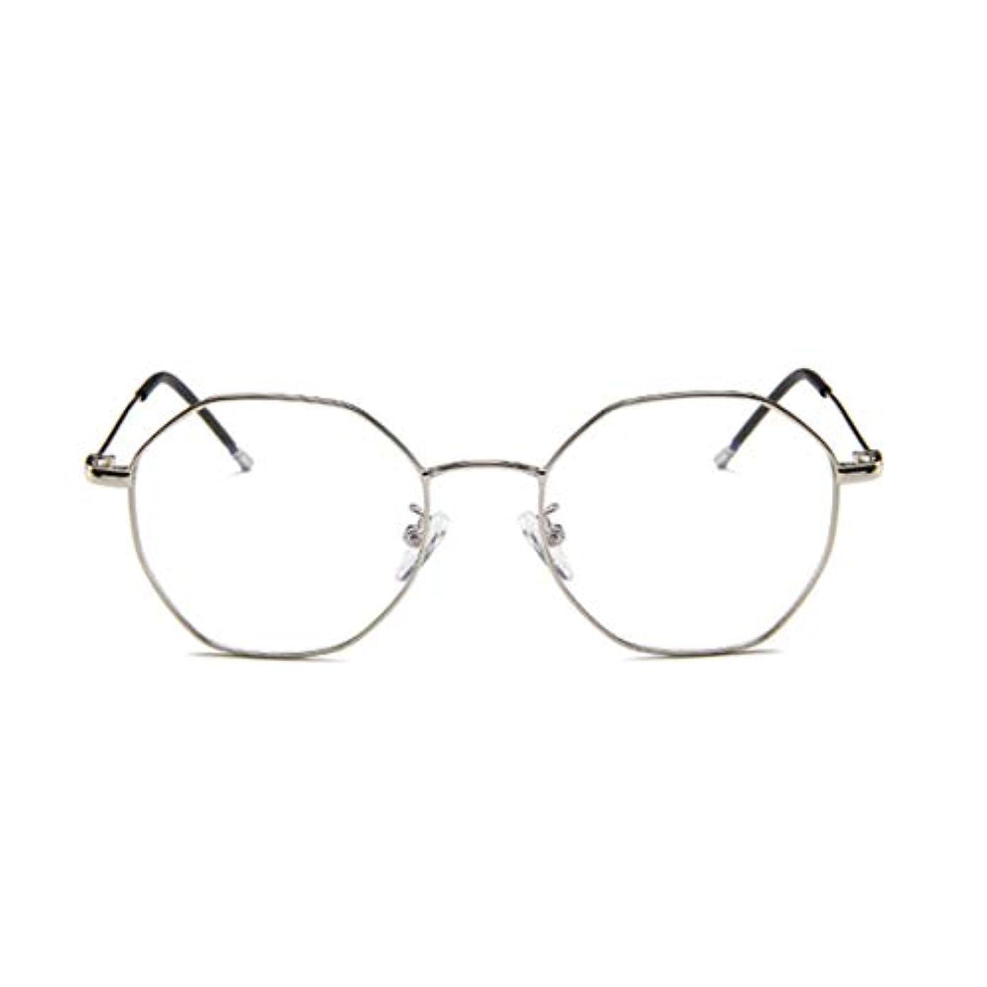 ふける神経障害桃ファッションメガネ近視多角形フレーム韓国語版金属フレーム男性と女性のための不規則なフラットグラス-スライバー