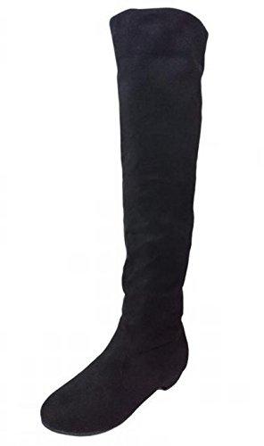トーアソーア ニーハイブーツ レディース ローヒール 2way ストレッチ ロング ブーツ シンプル (39(24.0~24.5cm), 黒)