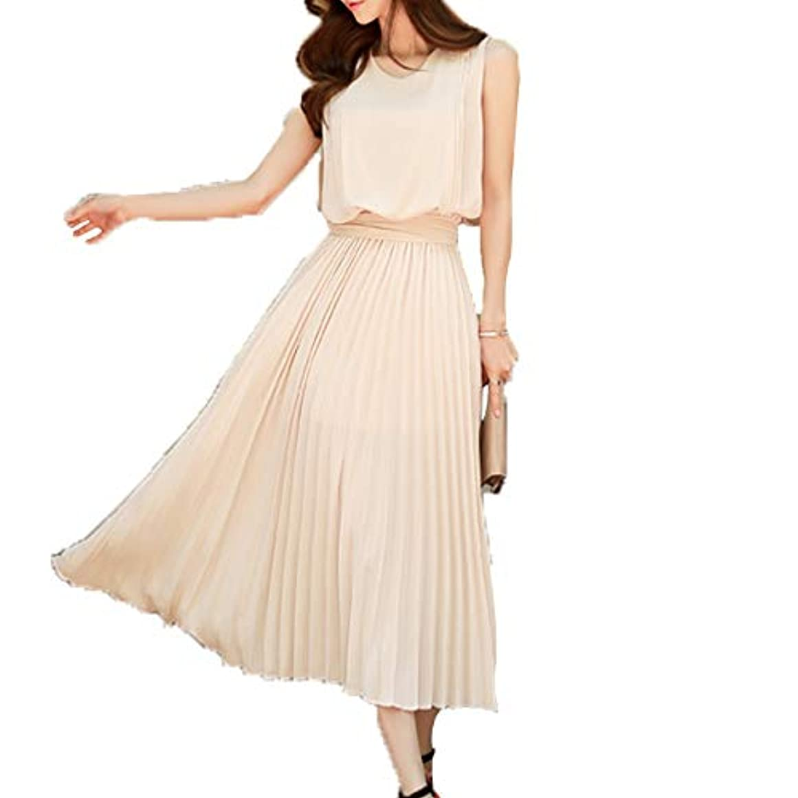 一緒に閉じ込める効果[ココチエ] ドレス ワンピース シフォン 大きめ ロング 春夏 プリーツ 半袖 ノースリーブ リボン