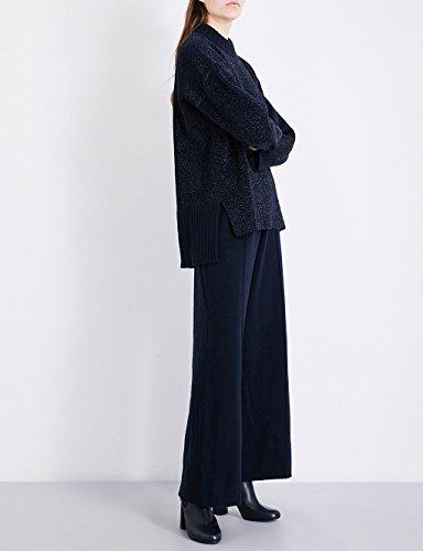 プリングル オブ スコットランド ボトムス カジュアルパンツ wide high-rise knitted trousers MIDNIGHT hsl [並行輸入品]