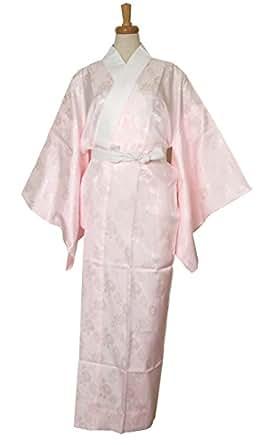 【衿芯&腰紐付き】お仕立て上がり 洗える 長襦袢≪掛け衿付き≫ピンク レディース  M L サイズ 仕立て上がり 下着 肌着 和装 (M)