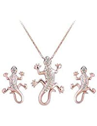 Wonvin Womens Statement 18k Gold Gecko Crystal Pendant Necklace and Earrings Set Long Silver Chain Unique Necklaces Jewelry Set